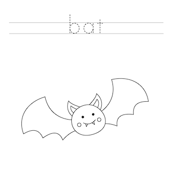 Tracez les lettres et coloriez la chauve-souris. pratique de l'écriture manuscrite pour les enfants.