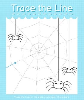 Tracez la ligne: tracez en suivant les lignes pointillées et coloriez l'image - toile d'araignées