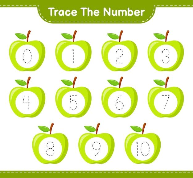 Tracez le numéro. numéro de suivi avec apple. jeu éducatif pour enfants, feuille de travail imprimable