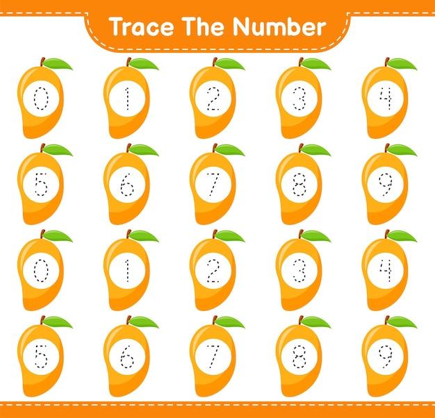 Tracez le numéro. numéro de suivi avec mango. jeu éducatif pour enfants, feuille de travail imprimable