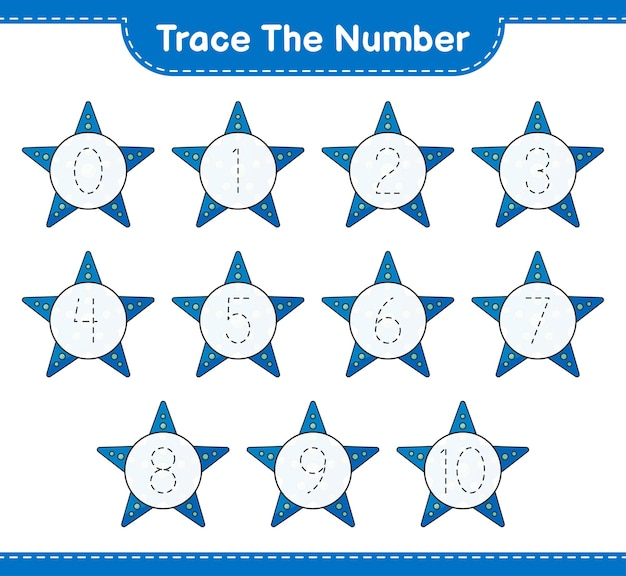 Tracez le numéro numéro de traçage avec la feuille de travail imprimable du jeu éducatif pour enfants starfish