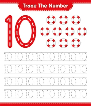 Tracez le numéro de traçage avec la feuille de travail imprimable du jeu éducatif lifebuoy pour enfants