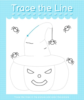 Tracez la trace de la ligne en suivant les lignes pointillées et coloriez l'image citrouille d'halloween