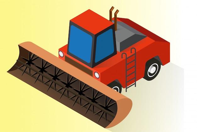 Tracteur agricole ou bulldozer orange isométrique