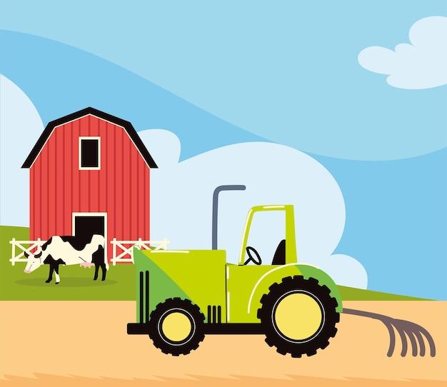 Tracteur agricole et grange