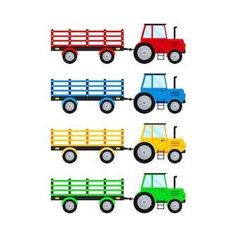 Tracteur agricole avec remorque ouverte set isolatet sur fond blanc.