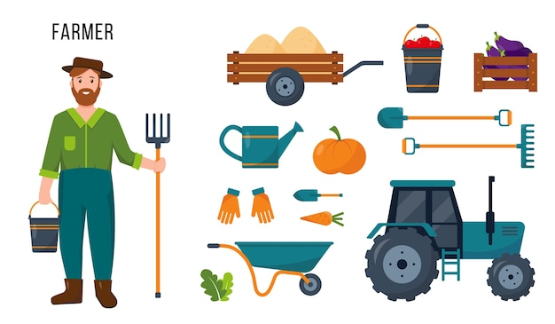 Tracteur de caractère fermier et ensemble d'outils et d'équipements agricoles pour son travail
