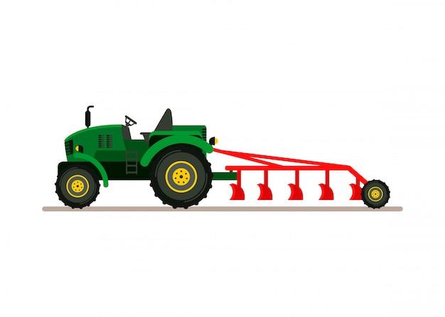 Tracteur, charrue, vue frontale, plat, illustration