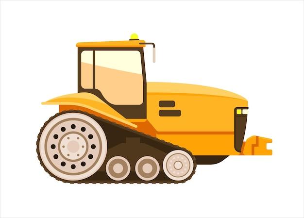 Tracteur à chenilles, moissonneuse ou moissonneuse-batteuse sur fond blanc