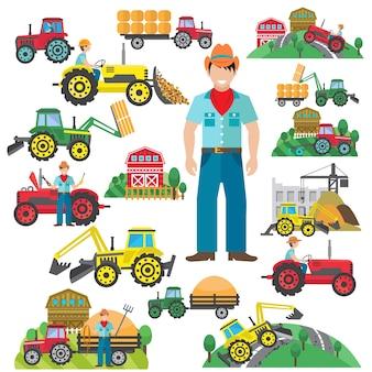 Tracteur driver icons set plat