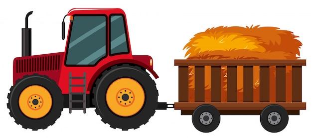 Tracteur avec du foin dans le panier