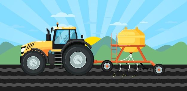 Tracteur ensemencement des cultures au champ dans un paysage de printemps