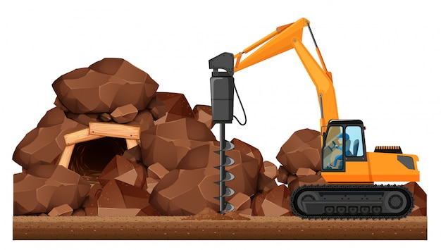 Tracteur de forage travaillant dans la mine