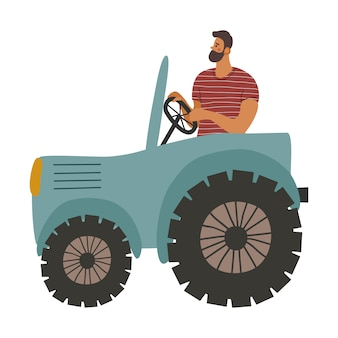 Tracteur et un homme dedans. l'agriculteur cultive la terre.