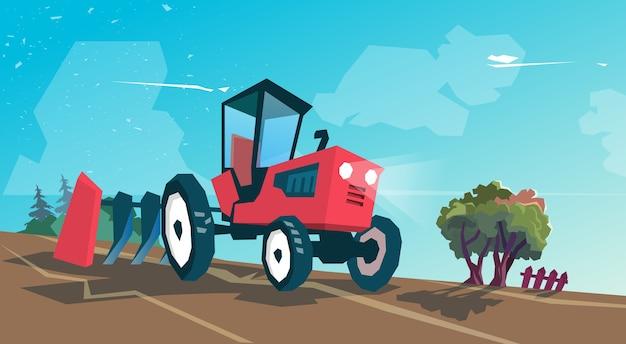 Tracteur, labourant, champ, agriculture, dessin animé, vecteur, illustration