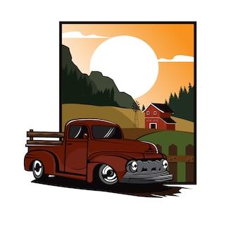 Tracteur paysan sur le terrain