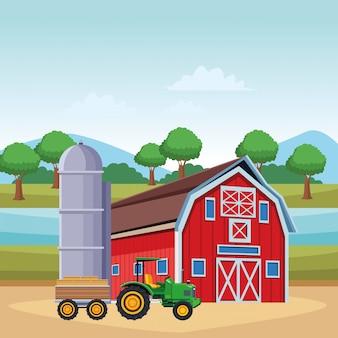 Tracteur et remorque de grange