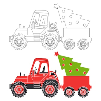 Tracteur rouge avec silhouette de dessin animé de sapin de noël et illustration de page de livre à colorier sur fond blanc.