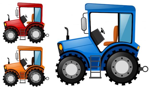 Tracteurs en trois couleurs différentes