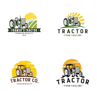 Tractor farm logo template stock vecteur
