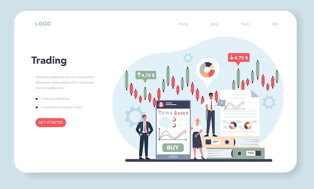 Trader, bannière web d'investissement financier ou page de destination.