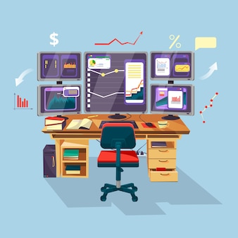 Trader de dessin animé de vecteur, lieu de travail d'analyste financier