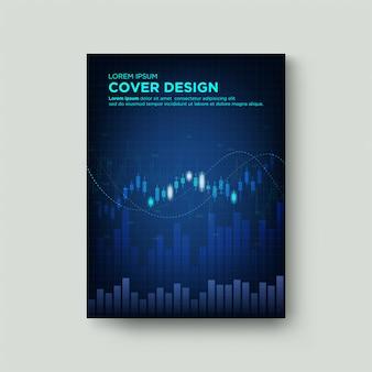 Trading de couverture numérique. avec des illustrations de tableaux de cire et de graphiques à barres sur un fond bleu foncé.