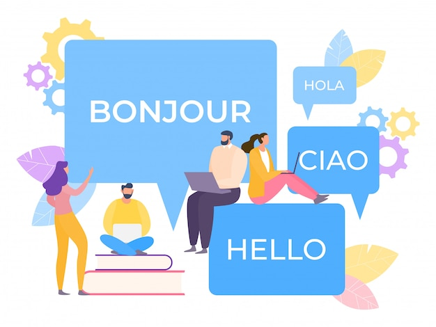 Traducteur multilingue en ligne illustration. l'application simplifie l'apprentissage de la parole. la technologie convertit la correspondance.
