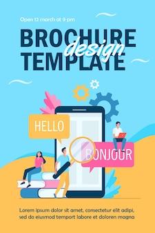 Traduction de l'application sur le modèle de flyer de téléphone mobile