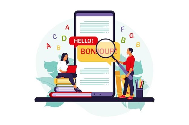 Traduction de l'application sur téléphone mobile. personnes utilisant un service de traduction en ligne pour une langue étrangère .. appartement isolé.