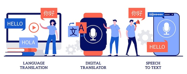 Traduction de langue, traducteur numérique, concept de parole en texte avec des personnes minuscules