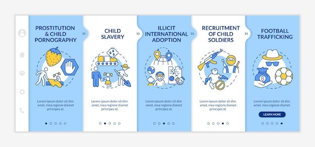 Trafic d'enfants à bord d'un modèle vectoriel. site web mobile réactif avec des icônes. présentation de la page web en 5 étapes. concept de couleur d'esclavage et d'exploitation des enfants avec des illustrations linéaires