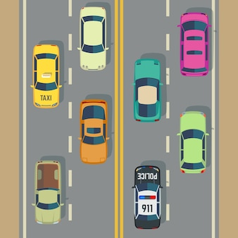 Trafic routier avec vecteur de rue de voitures et camions vue de dessus. trafic avec voiture de police et taxi, illus