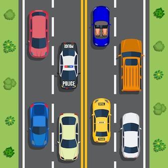 Trafic routier avec voitures vue de dessus
