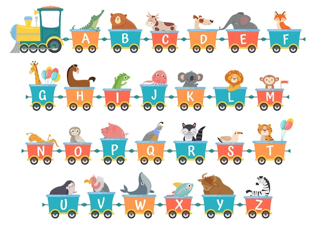 Train de l'alphabet avec des animaux