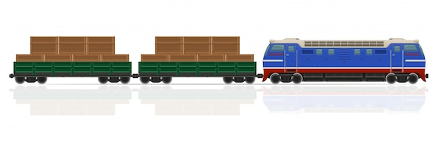 Train de chemin de fer avec illustration vectorielle locomotive et wagons
