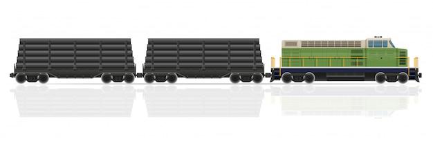 Train de chemin de fer avec illustration vectorielle locomotive et wagons