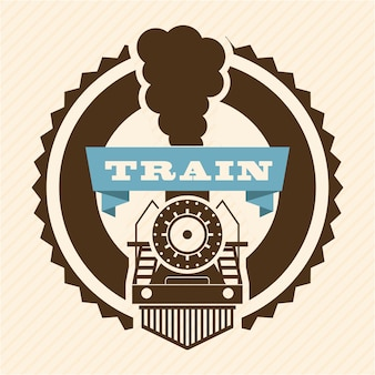 Train design au cours de l'illustration vectorielle fond rose