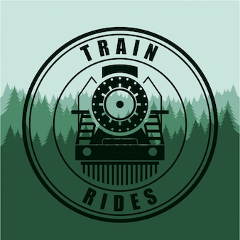 Train design au cours de l'illustration vectorielle fond vert