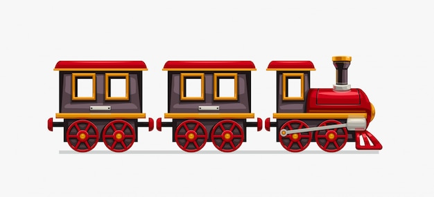 Train de dessin animé coloré sur blanc