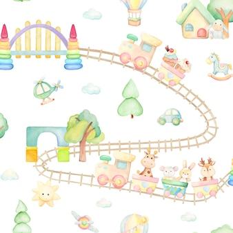 Train, girafe, cheval, chéri, lapin, souris, âne, ballon, maison, pont, hélicoptère, avion, voiture. modèle sans couture aquarelle