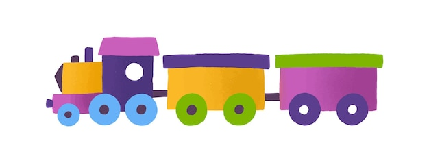 Train jouet enfantin avec illustration vectorielle de wagons. transport ferroviaire coloré isolé sur fond blanc. véhicule de chemin de fer dessiné à la main mignon. jouet pour enfants, locomotive multicolore.