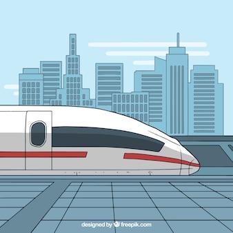 Train moderne à grande vitesse dans la ville
