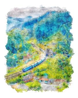 Train passant à travers les montagnes aquarelle