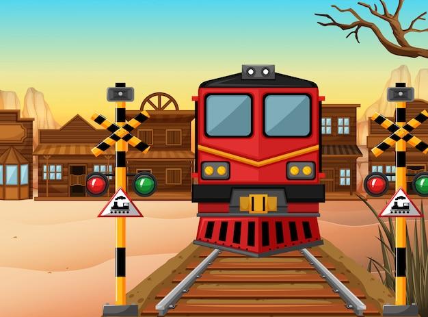 Train sur la piste jusqu'à la ville de l'ouest