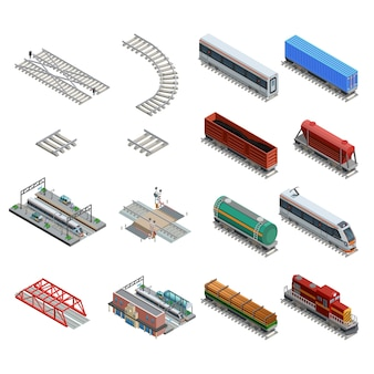 Train station elements icons set