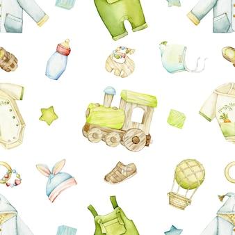Train, vêtements, chaussures, ballon, jouets. aquarelle transparente motif, sur un fond isolé, dans un style bohème.