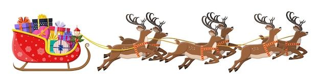 Traîneau du père noël plein de cadeaux et ses rennes