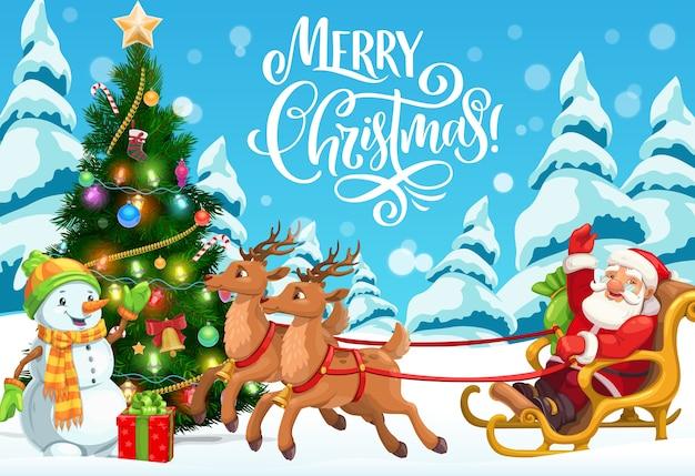 Traîneau de noël avec santa, bonhomme de neige et conception d'arbre de noël. claus offrant des cadeaux de vacances d'hiver et des cadeaux avec des rennes, de la neige et des étoiles, des chaussettes, des boules et des lumières, des flocons de neige, des rubans, des bonbons