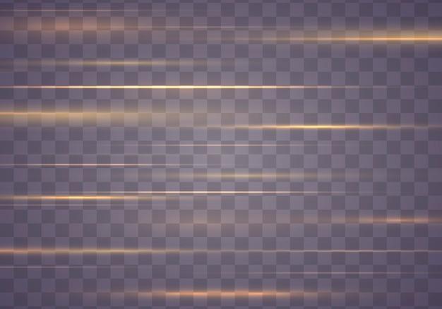 Traînée d'effet de lumière. pack de fusées éclairantes horizontales jaunes. des stries éclatantes.
